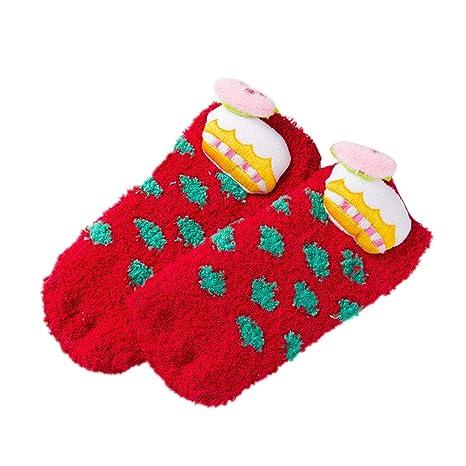 BESTOYARD Calcetines de Navidad Lana de Coral Resistencia al Deslizamiento Calcetines Calcetines creativos para bebés y