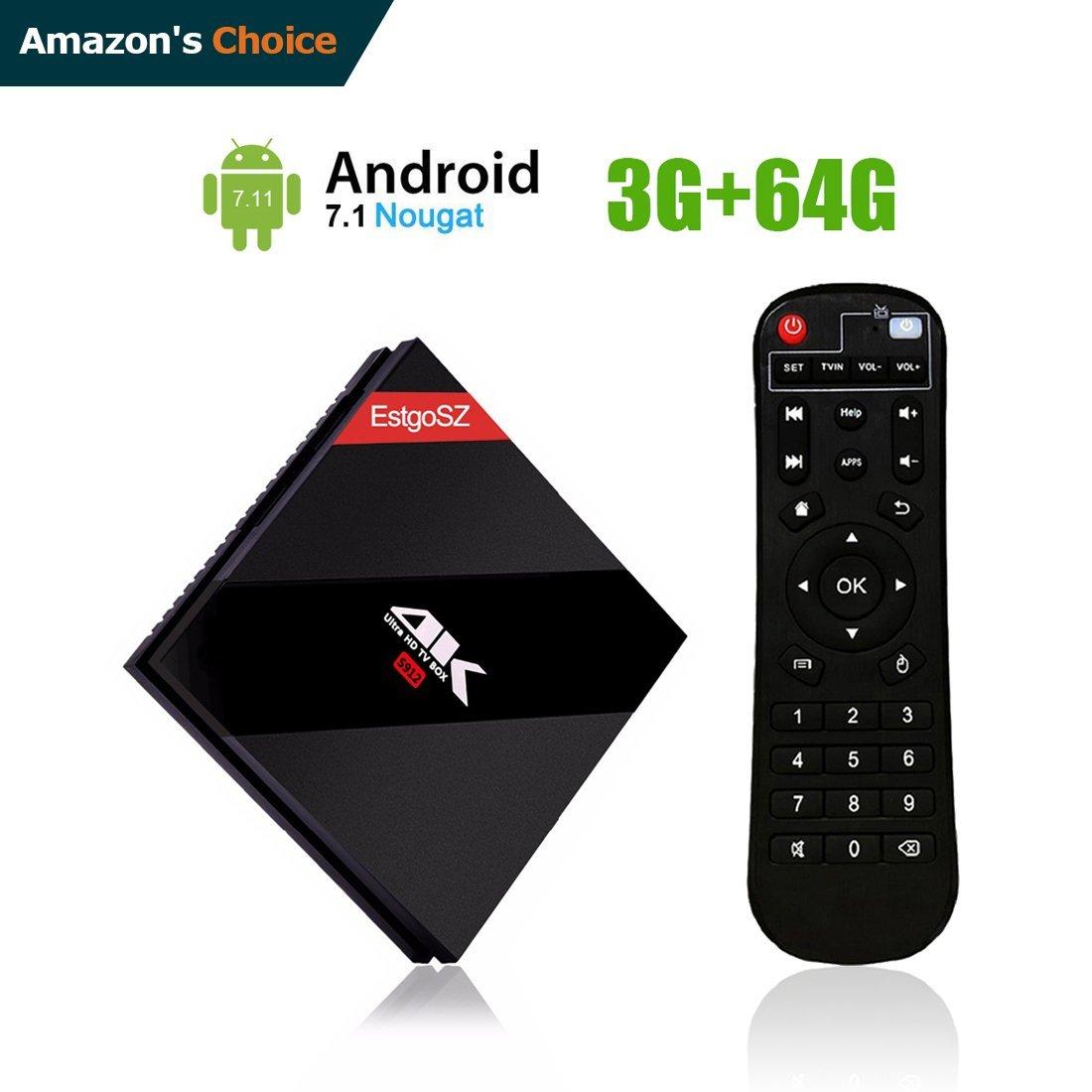 EstgoSZ 3GB / 64 GB Smart TV BOX Android 7.1 OS, Amlogic S912 Octa Core 64 bits with BT 4.1 Dual Band WIFI 2.4G/5.0 GHz 1000M LAN Mini PC Google Android Internet Set Top Box