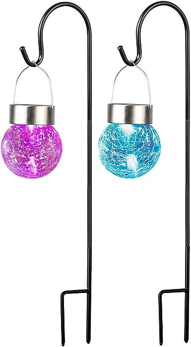Solar Lanterns Outdoor Hanging , Solar Powered Dual LED Lights with Shepherd Hook for Garden, Walkway, Pathway, Landscape