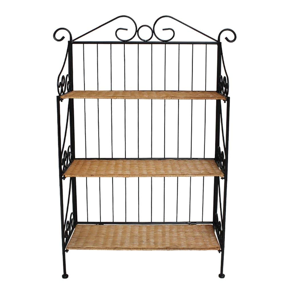 YUEQISONG Shelf Iron Brown Yellow Three Layers Incorporated Sort Out Living Room Bedroom, Yellow