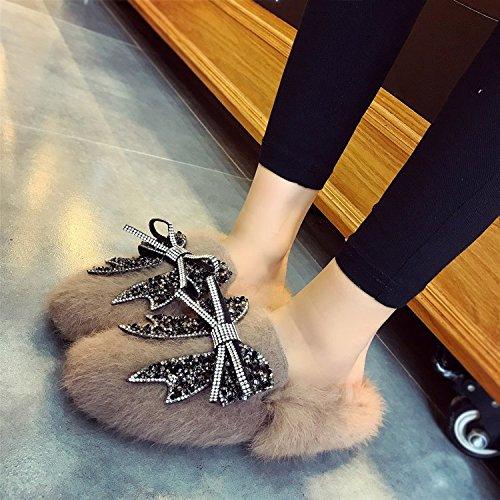 Habuji autunno e inverno donna pantofole piatta con piatto scarpe pigro bow scarpe di diamante, 39, kaki