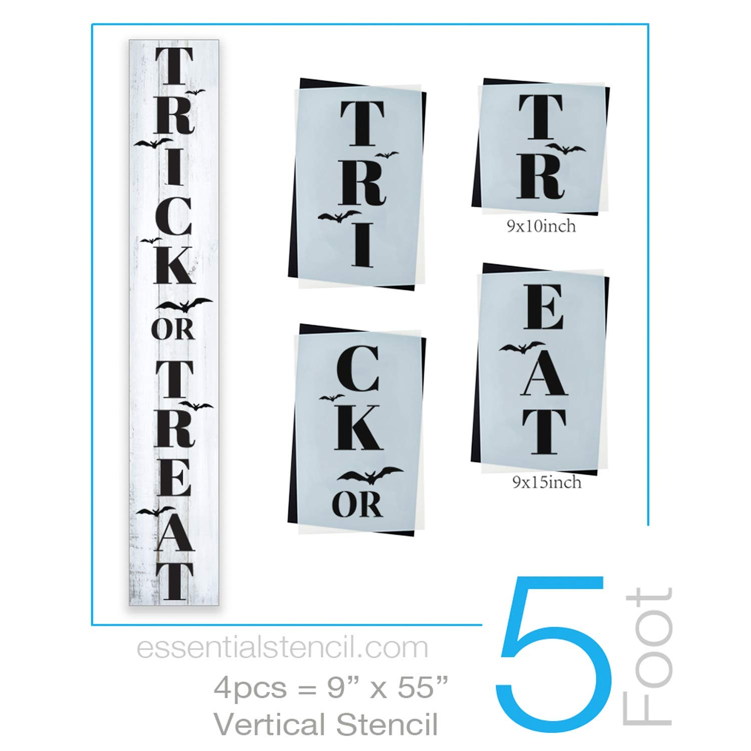 Reusable Trick or Treat Sign Stencil for Painting on Wood | Ideal for 5ft Vertical Porch Sign (DIY Halloween Entrance Sign) by Essential Stencil (Image #1)