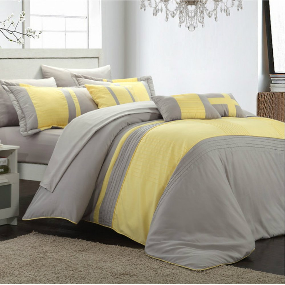 hotel collection bedding comforter set in yellow gray