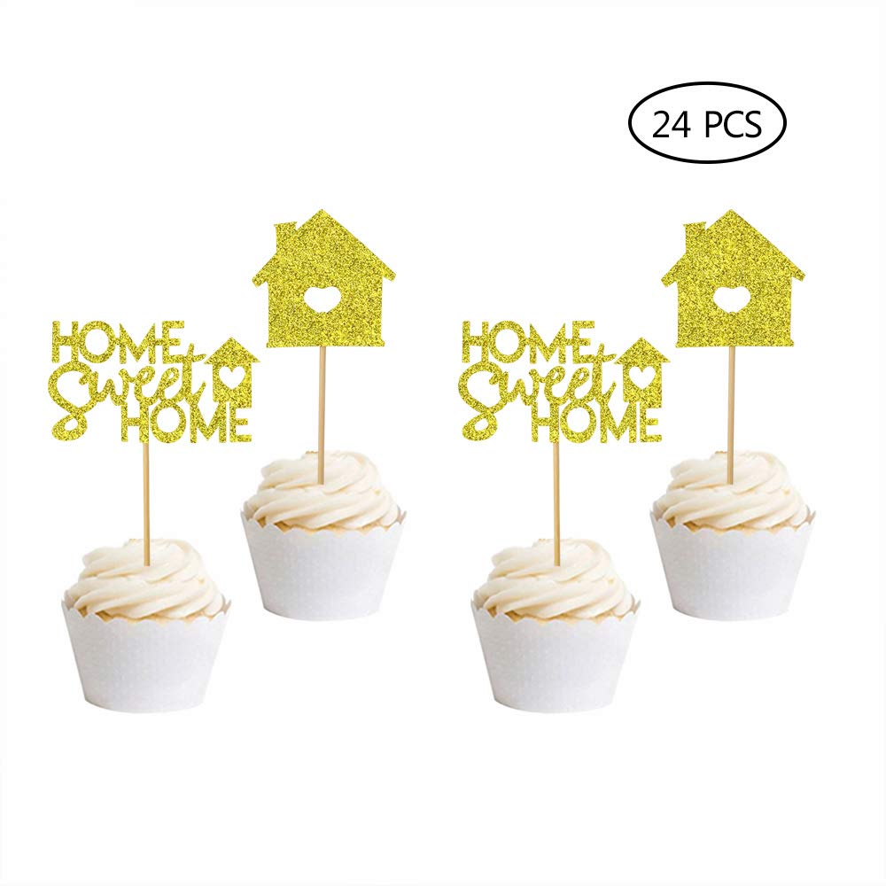 Home Sweet Home Cupcake Toppers-24 Pcs Housewarming Cake Topper Housewarming Gift New Home Cake Topper Home Sweet Home Sign New Home Party Decoration