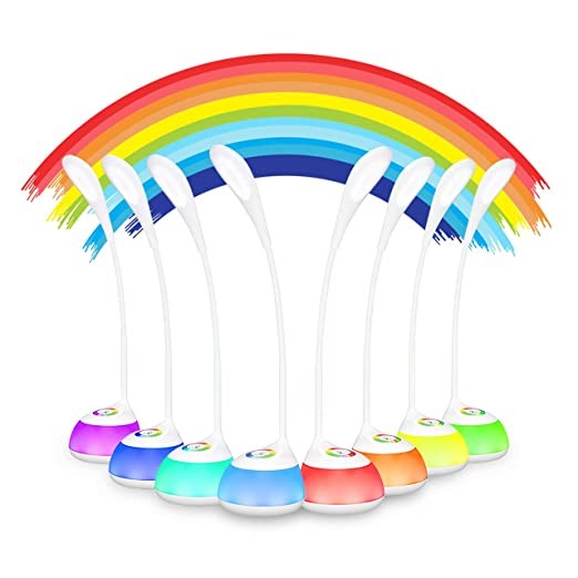 LED Schreibtischlampe VicTsing Dimmbare Leselampe für Kinder 5W mit Stimmungslicht und Touchfeld, 3 Helligkeitsstufen und RGB