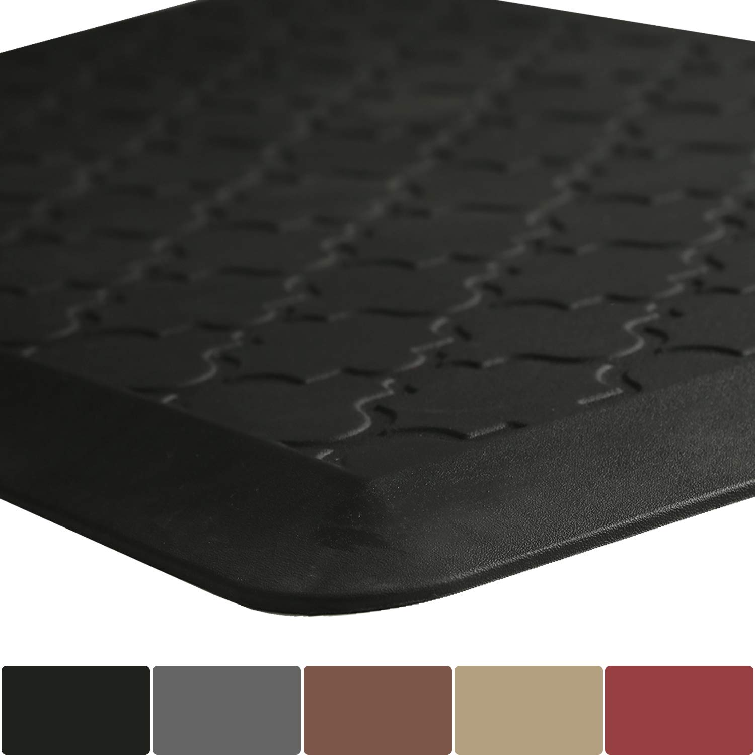 Anti Fatigue Standing Desk Mat 48 x 20 Inch, Kitchen Mat and Rugs Thick 3/4'' Cushioned Ergonomically Engineered Comfort Floor Mat, Black by FRESHMINT