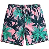 MaaMgic Mens Quick Dry Palm Tree Swim Trunks with Mesh Lining Swimwear Bathing Suits Hawaiian