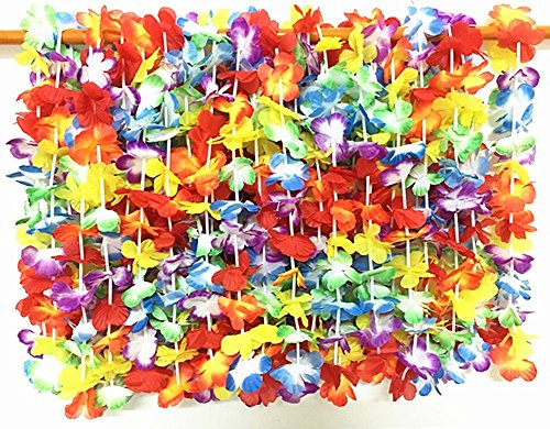 24 Counts / 2 Dozen 39'' Silk Hawaiian Leis Necklace Tropical Hawaiian Luau Flower Lei Party Favors Hula Party Leis Necklaces Floral Leis Luau Party (24pcs (Silk Floral Lei)