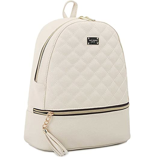 Copi Women's Simple Design Deluxe fashion Quilted small Backpacks Ivory