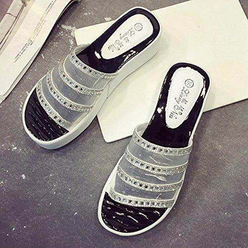 HAIZHEN zapatos de mujer Verano Fresco Gruesa Sandalias Mujer De Tacón Alto Zapatos De Playa Negro Blanco Para mujeres (Color : Negro, Tamaño : EU36/UK3.5/CN35) Blanco