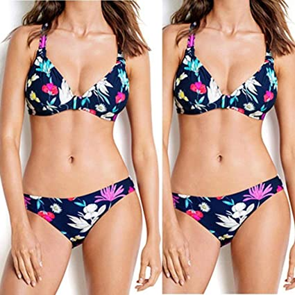 8145dddadf Bathing Suits for Women Two Piece Floral Bikini Swimsuit High Waisted Push  Up Halter Side Tie Bow Knot Ruffle Flounce Crop Top Lace Cut Out Bottom  Strap ...
