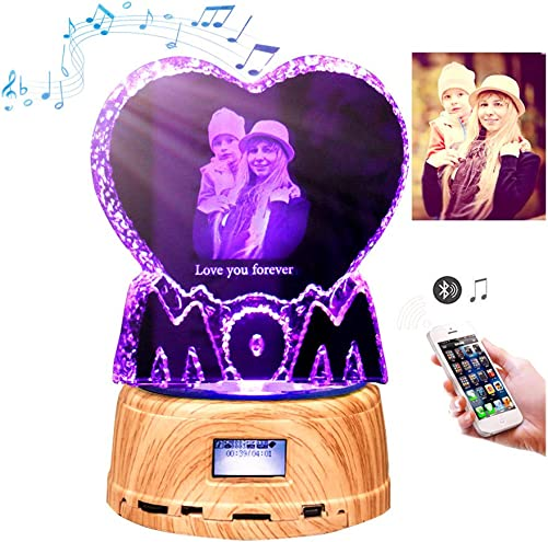 Personalized Photo Night Light Bluetooth Led Lamp Color Changing Music Player for Women