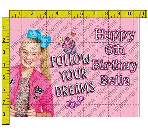 JoJo Siwa Follow Your Dreams Personalized Birthday Edible Frosting Image 1/4 sheet Cake Topper