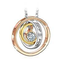 """Kami Idea """"Mama Ich Liebe Dich Gravierte Damen Kreis Halskette mit Kristallen von Swarovski, Kommt in Geschenkbox, Nickelfrei Bestanden SGS Test, 45+5cm"""