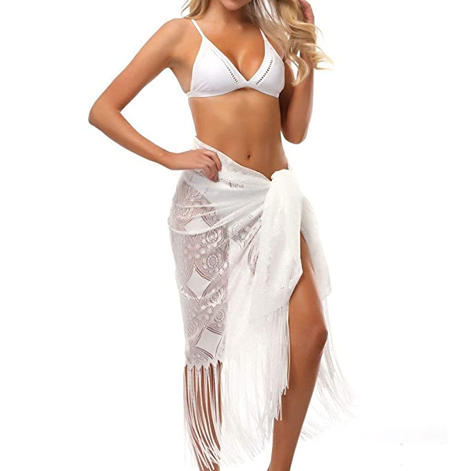 POLP Pareos Playa Mujer Traje de baño de Playa Sexy con Encaje Largo Borla Bikini Pareos Mujer Grande 2019 Negro Blanco 1pc: Amazon.es: Ropa y accesorios