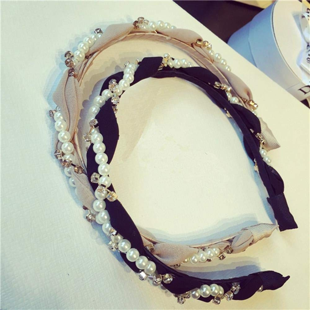 YOGER Headband Pearl Rhinestone Headband Headband Hair Band Female Gauze Hair Band Hair Accessories