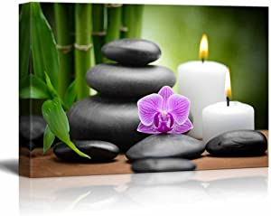 "Canvas Prints Wall Art - Zen Basalt Stones and Orchid Spa,Beauty and Calmness Concept | Modern Wall Decor/Home Decoration Stretched Gallery Canvas Wrap Giclee Print & Ready to Hang - (16"" x 24"")"