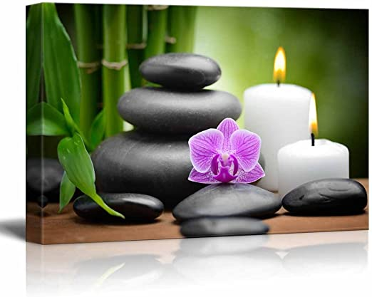 "24/"" x 36/"" Canvas zen basalt stones and orchid Spa,Beauty and Calmness Concept"