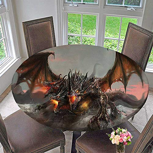 Spider 3 Man Placemat (Mikihome Round Premium Table Cloth Decor Illustration of Three Headed Fire Breathing Dragon Large Monster Gothic Theme Brown Perfect for Indoor, Outdoor 40