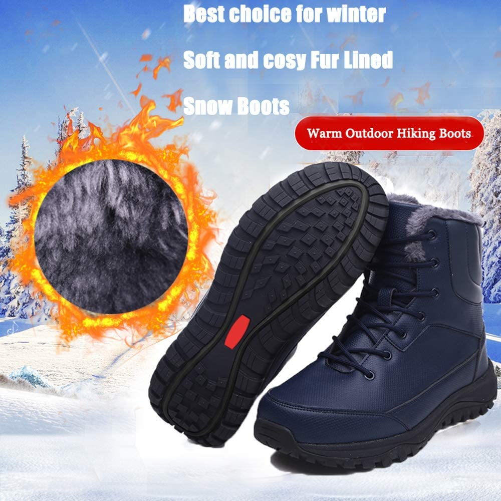 Yuar butee Mens Winter Boots Fur Lined Warm Outdoor Hiking Boots Waterproof Snow Booties for Men
