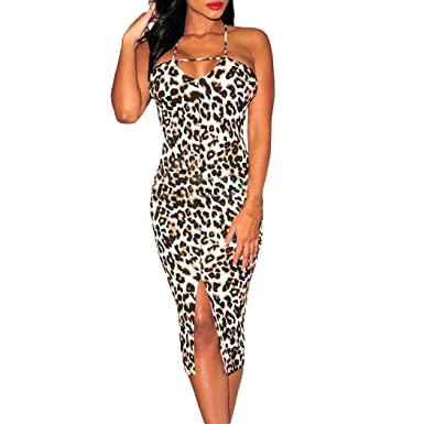 Women Party Dresses Casual Sheath Hollow Out Backless Leopard Design Women  Dress Sleeveless (S a446dac36