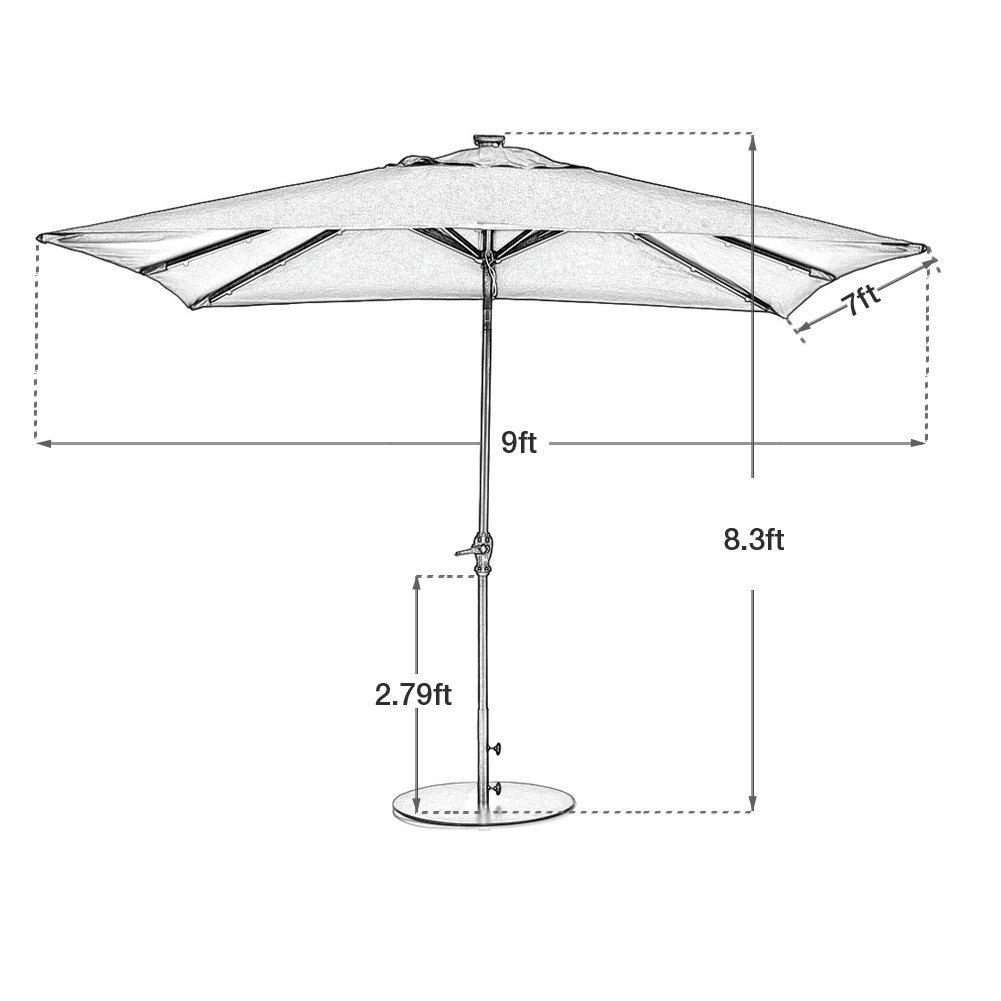 Amazon.com : Abba Patio 7 By 9 Feet Rectangular Patio Umbrella With Solar  Powered 32 LED Lights With Tilt And Crank, Dark Red : Patio, Lawn U0026 Garden