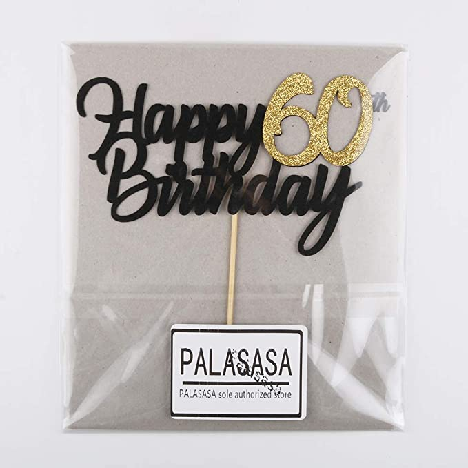 PALASASA Single Sided Colorful Glitter Laser Happy 80th Birthday 80 Anniversary Cake Topper Party Decoration Supplies