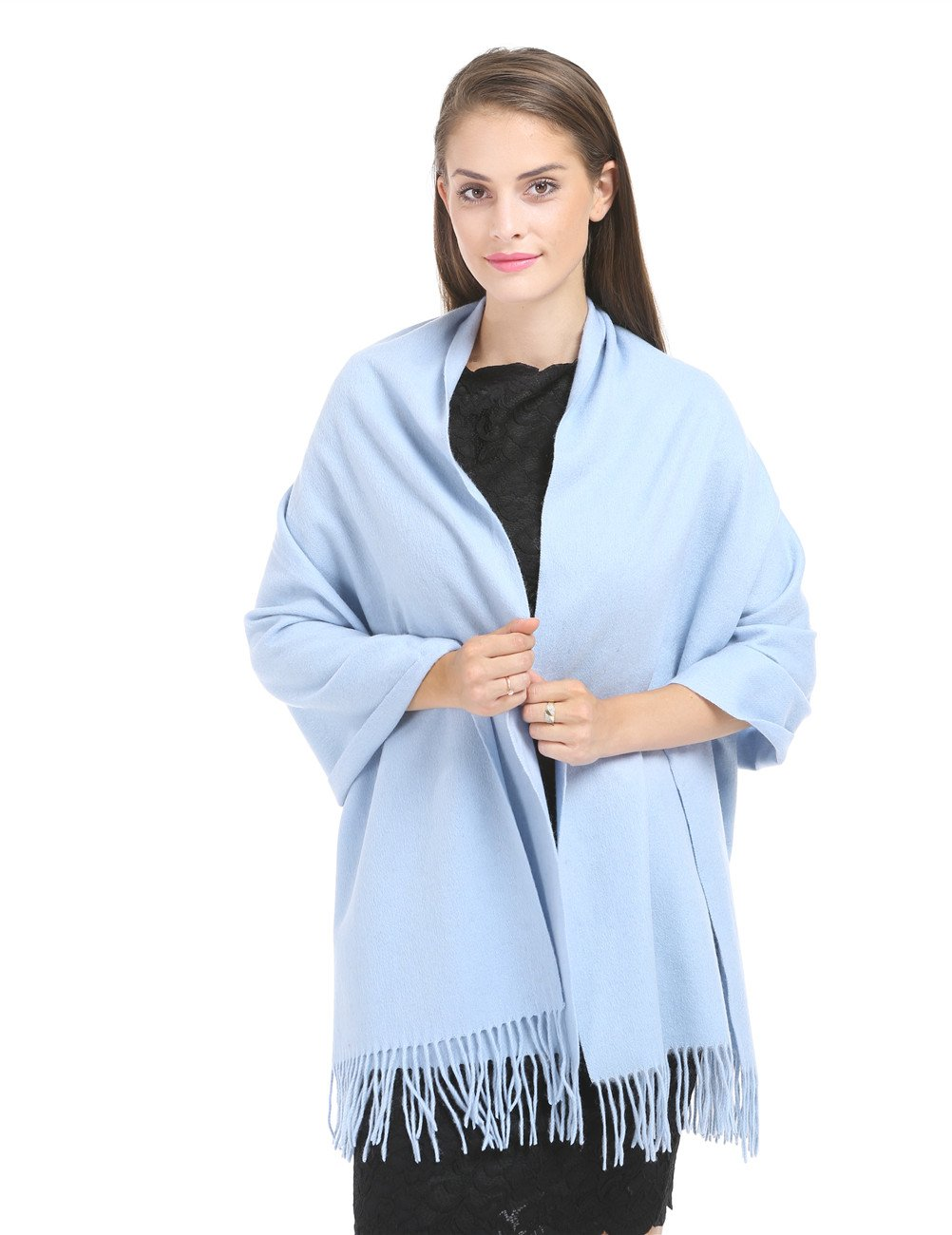 Saferin 78'' X 28'' Soft Warm Women Luxurious Solid Cashmere Lambswool Pashmina Wrap Shawl Scarf with Gift Box (8.blue)