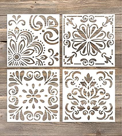 Amazon.com: GSS Designs Pack of 4 Stencils Set (6x6 Inch) Laser Cut ...