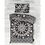 """Exclusive Twin Black Elephant Mandala DUVET COVER WITH PILLOWCASES By """"Handicraftspalace"""" , Twin Duvet Cover, Mandala Duvet Doona Cover"""