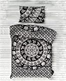 Exclusive Twin Black Elephant Mandala DUVET COVER WITH PILLOWCASES By ''Handicraftspalace'' , Twin Duvet Cover, Mandala Duvet Doona Cover