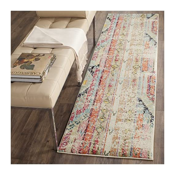 """Safavieh Monaco Collection MNC222F Modern Bohemian Distressed Runner, 2' 2"""" x 8', Multicolor - Safavieh's Monaco Modern Bohemian Rug with 1,000+ customer reviews Free spirited design adds a modern to touch to the living room, dining room, bedroom, foyer, or playroom Refined power loomed construction and enhanced polypropylene fibers ensure an easy care and virtually non shedding rug - runner-rugs, entryway-furniture-decor, entryway-laundry-room - 61GWaHxxZpL. SS570  -"""