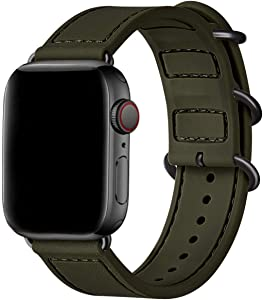 BesBand Compatible with Apple Watch Bands 44mm 42mm 40mm 38mm for Women Men,Soft Silicone Sport Strap Replacement Band for Apple Watch SE & iWatch Series 6/5/4/3/2/1 (Army green/Black, 42mm 44mm)