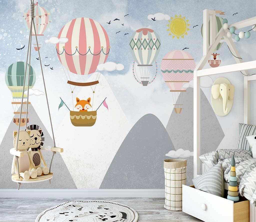 Hand Painted Cartoon Geometric Nursery Children Wallpaper Wall Mural Grey Geometric Mountain Hot-air Balloon Kid Children Room Wall Mural