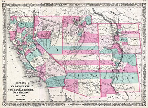 Home Comforts LAMINATED POSTER Map of 1866 Johnson Map of Ca