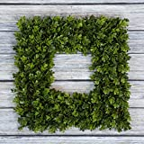 Boxwood Wreath, Artificial Wreath for the Front Door by Pure Garden, Home Décor, UV Resistant – 16.5 Inches, Square