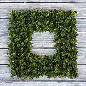 Pure Garden Boxwood Wreath, Artificial Wreath for The Front Door, Home Décor, UV Resistant - 14 Inches 3