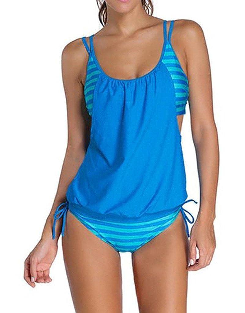 Womens Stripes Lined Up Double Up Tankini Top Bikini Swimwear