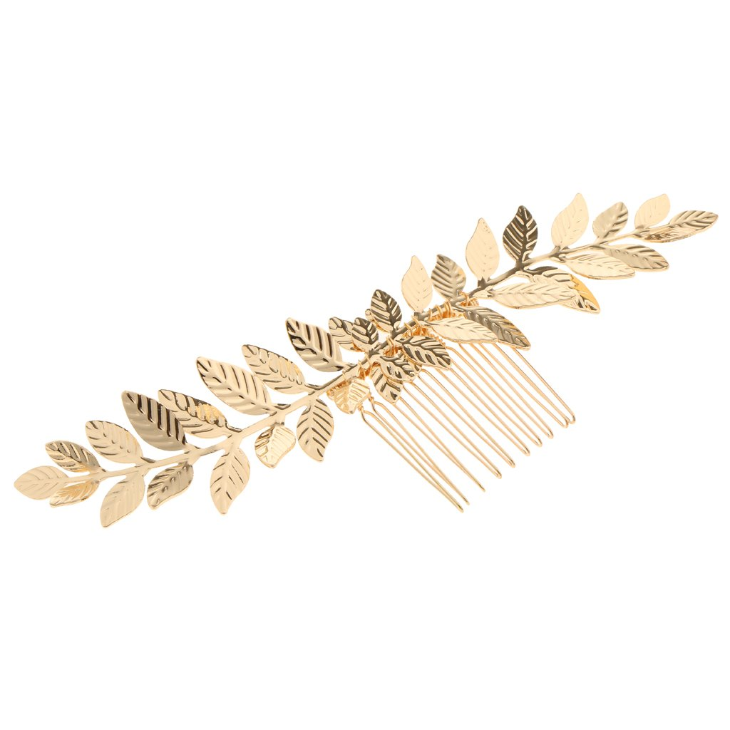 Dovewill Ladies Vintage Long Gold Alloy Leaves Vine Hair Comb Wedding Party Hair Jewelry