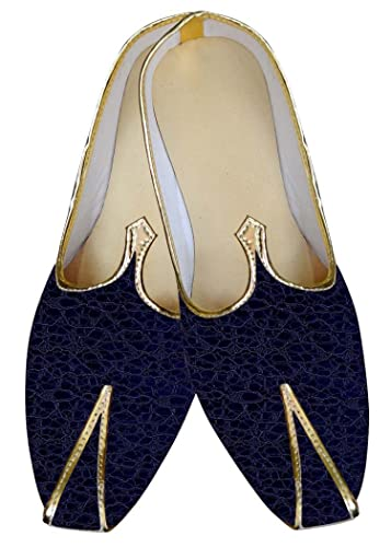 Mens Navy Blue Wedding Shoes Threaded MJ015829