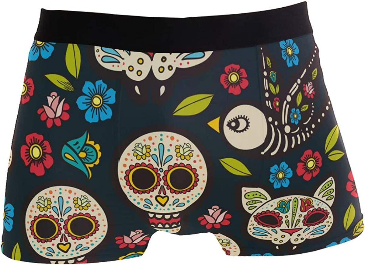 Mens Flowers and Owls Underwear Boxer Briefs Ultra Soft Comfortable