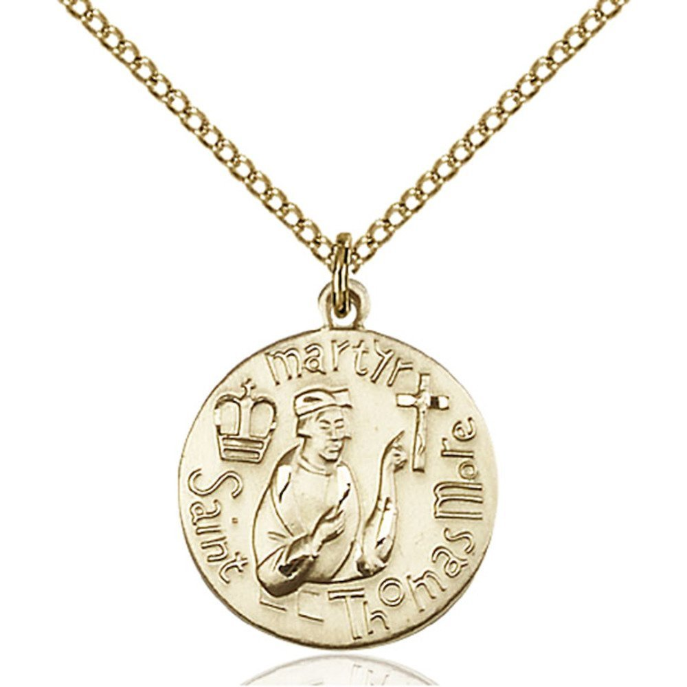 Gold Filled St. Thomas More Pendant 3/4 x 5/8 inches with Gold Filled Lite Curb Chain