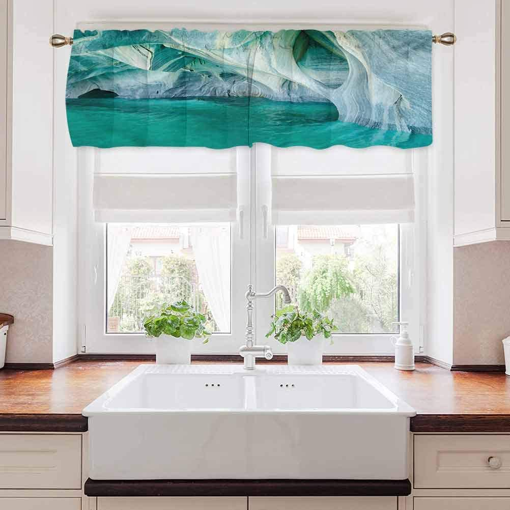 """carmaxs Nature Kitchen Tier Curtains, Natural Marble Cave at European Mediterranean Lake Geologic Eroded Artwork Photo, 54"""" x 12"""", Turquoise Grey"""