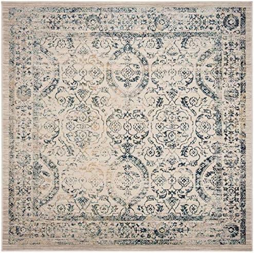 Safavieh Evoke Collection EVK513F Vintage Oriental Distressed Area Rug, 6 7 Square, Beige Turquoise