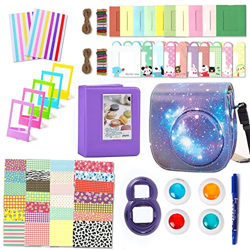 Leebotree Camera Accessories Compatible with Fujifilm Instax Mini 9 or Mini 8 8+ Include Case/Album/Selfie Lens/Filters/Wall Hang Frames/Film Frames/Border Stickers/Stickers/Pen(Starry Sky)
