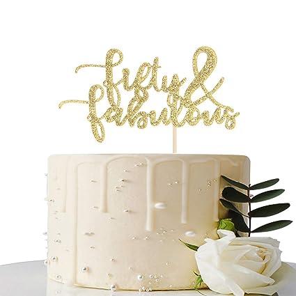 Decoración para tarta con purpurina dorada de 50 cumpleaños ...