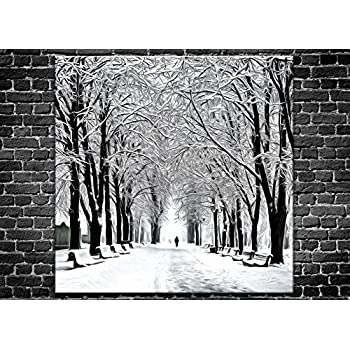 Black And White Snow Scene Canvas Wall ArtPeople Walking On Landscape Print