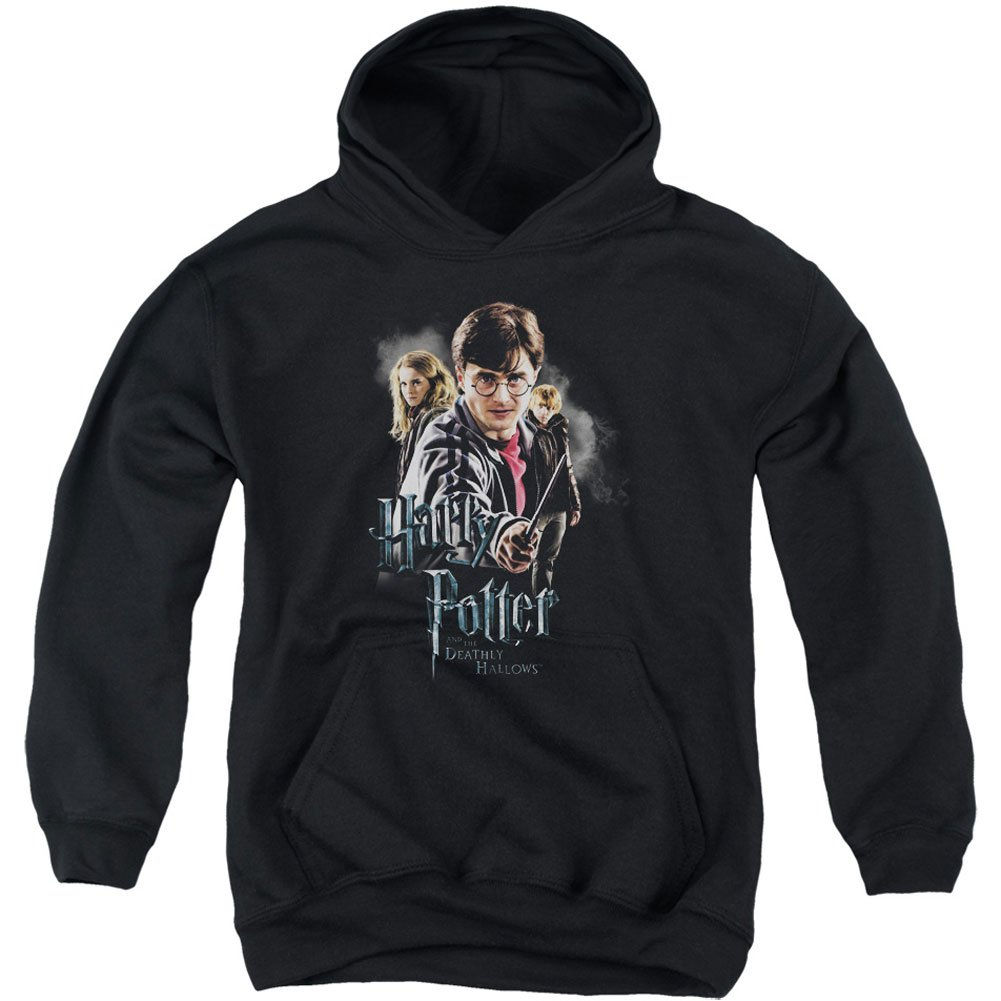 Trevco Harry Potter Deathly Hollows Cast Youth Pull Over Hoodie Black