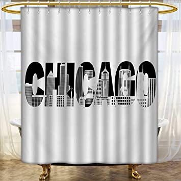 Lacencn Chicago SkylineShower Curtains Mildew ResistantBlack And White Text Of Outlining