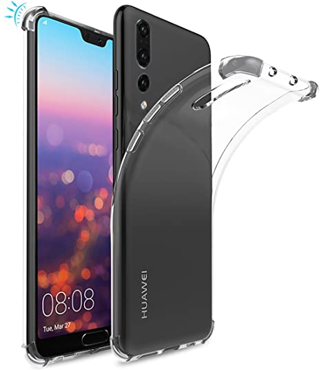 Huawei P20 Plus Case,Huawei P20 Pro Case, Suensan TPU Shock Absorption  Technology Raised Bezels Protective Case Cover for Huawei P20 Plus  Smartphone